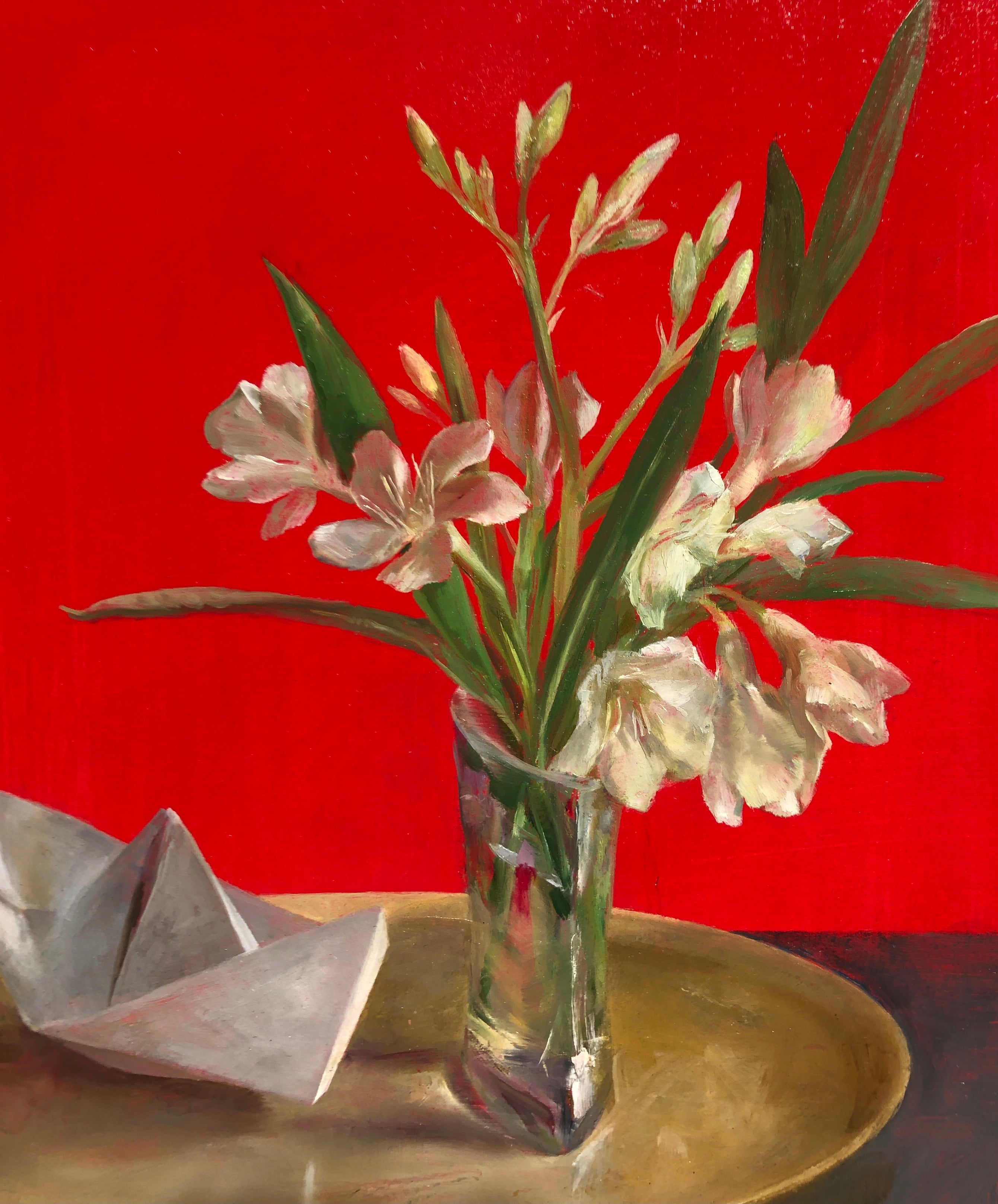 Still Life with Oleander - White Flowers on a Gold Tray with a Paper Boat