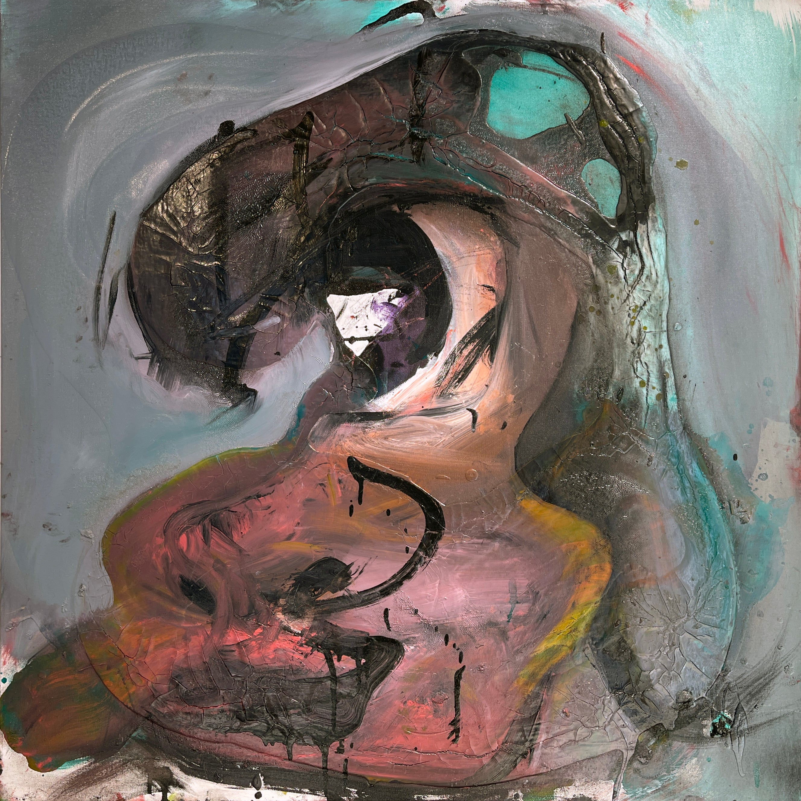 Cartoon Head, Abstract Oil Painting, Figure with Shades of Aqua, Gray & Brown