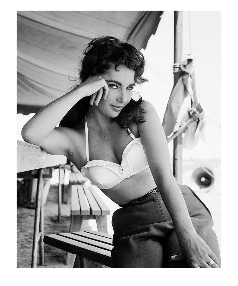 Frank Worth Black and White Photograph - Liz Taylor on the Set of Giant