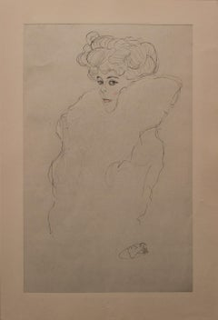 Portrait Sketch: Lady with Boa (Red and White Tinted)