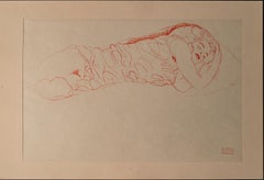Woman Lying Down (Red Pencil)