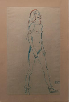 Young Girl (Blue & Red Pencil)