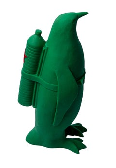 Small Cloned Green Penguin with Water Bottle, Cuban Edition