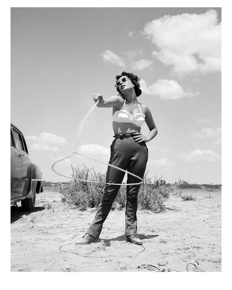 Liz Taylor Making a Lasso on the Set of Giant