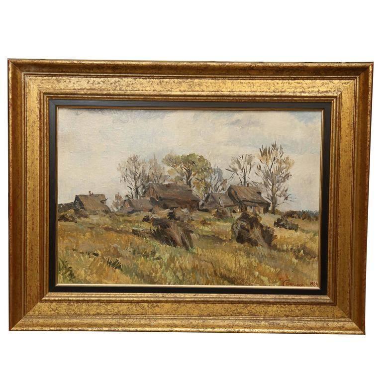 Sergey Simakov Landscape Painting - Landscape with a Remote Village