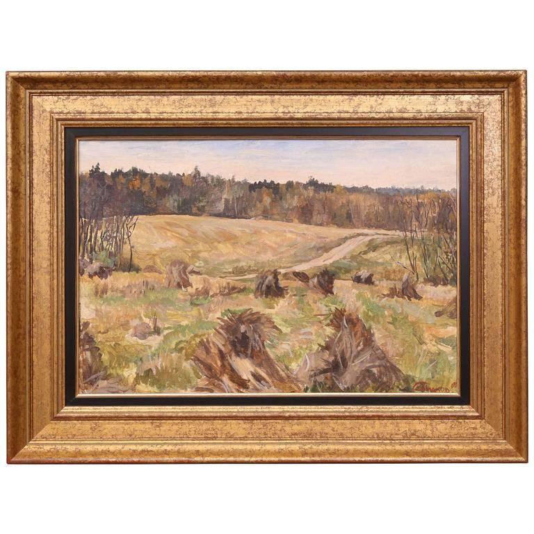 Sergey Simakov Landscape Painting - Landscape with Haystacks