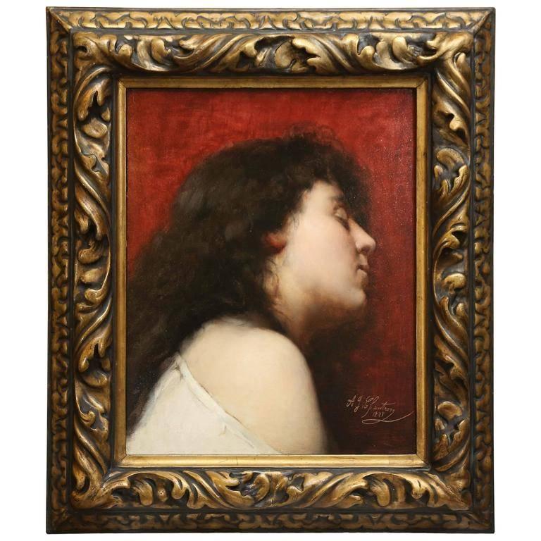 Alexandre Jacques Chantron Portrait Painting - Deep Thoughts