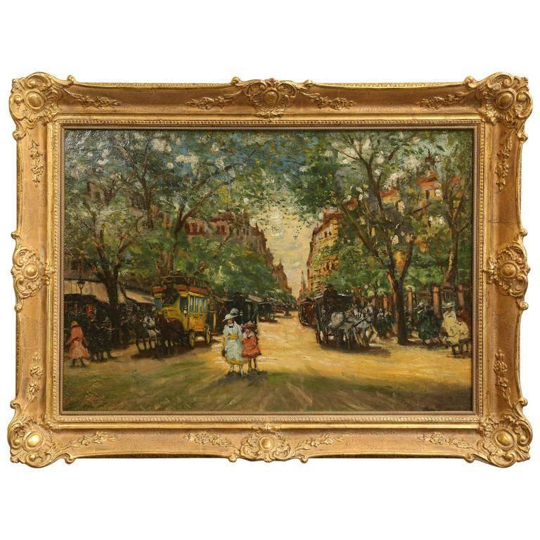 Antal Berkes Landscape Painting - Spring in Paris