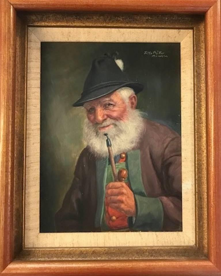 Fritz Muller Portrait Painting - Elderly Man with a Pipe