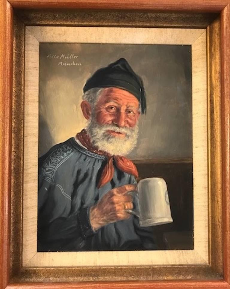 Fritz Muller Portrait Painting - Elderly Man with a Cup