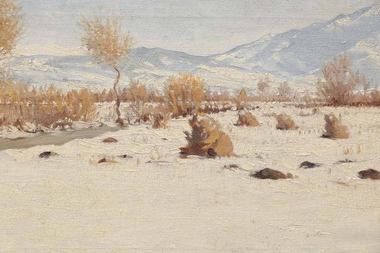 Winter Landscape - Painting by Nandor Guncser