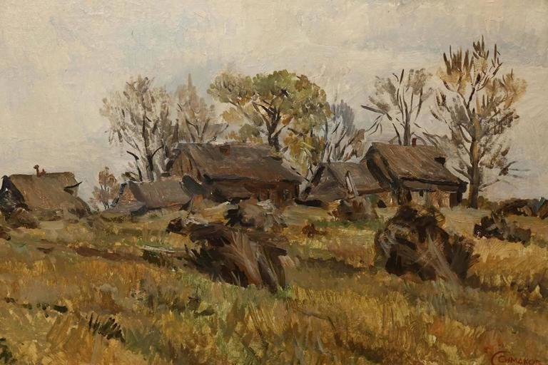Landscape with a Remote Village - Painting by Sergey Simakov