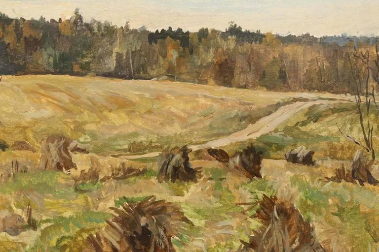 Landscape with Haystacks - Painting by Sergey Simakov