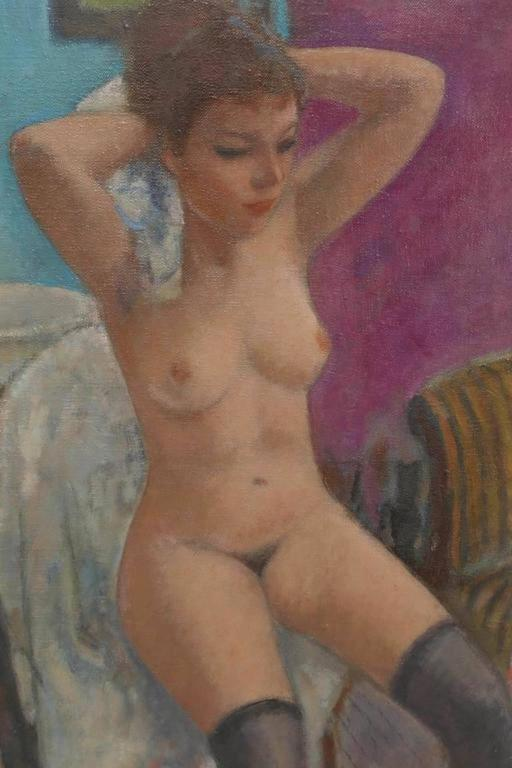 Nude in Interior - Painting by François Gall