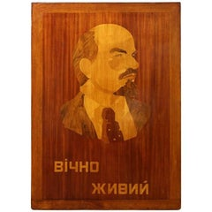 Inlaid wood portrait of Lenin