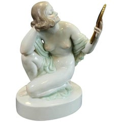 Herend Nude Female Figure with Mirror