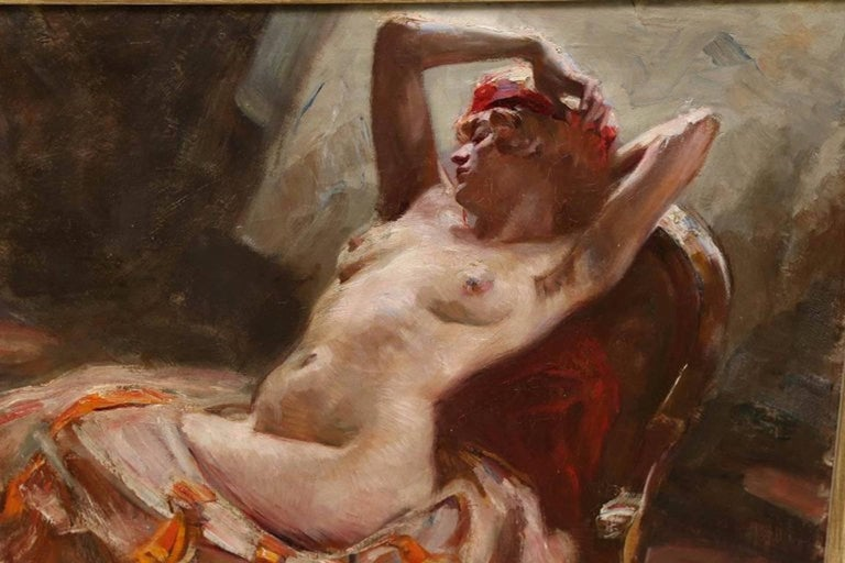 Reclining Nude - Other Art Style Painting by (attributed to) Istvan Szonyi