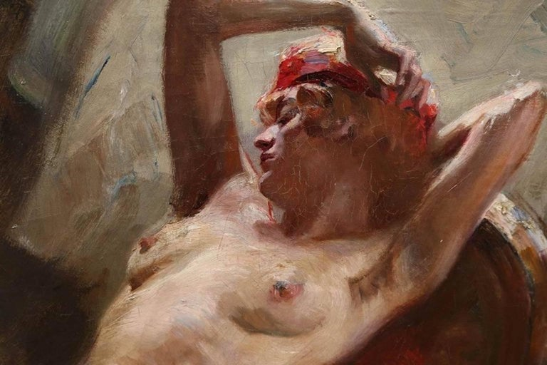 Reclining Nude - Brown Nude Painting by (attributed to) Istvan Szonyi