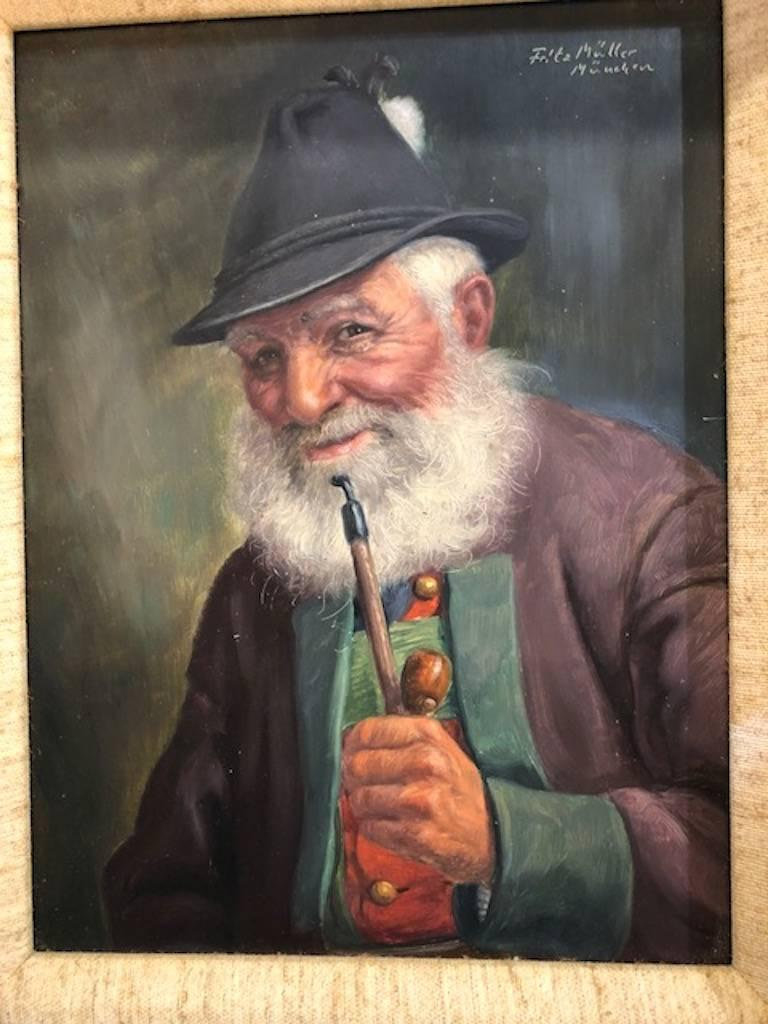 Elderly Man with a Pipe - Painting by Fritz Muller