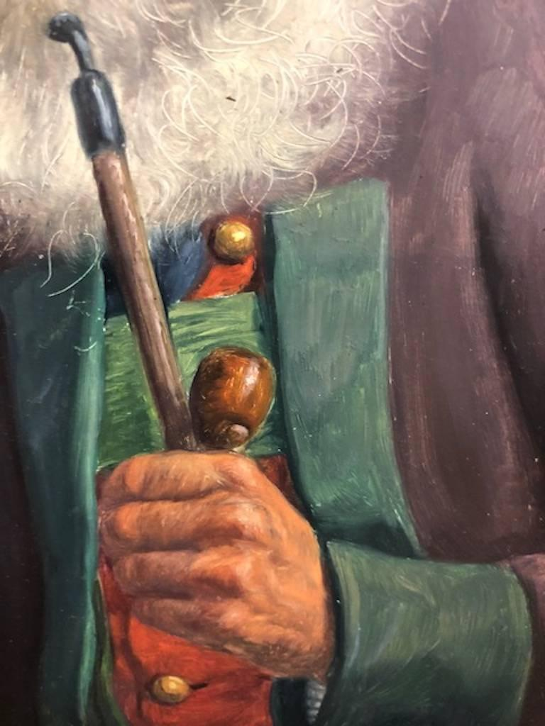 Elderly Man with a Pipe - Other Art Style Painting by Fritz Muller