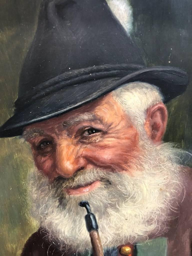 Elderly Man with a Pipe - Brown Portrait Painting by Fritz Muller