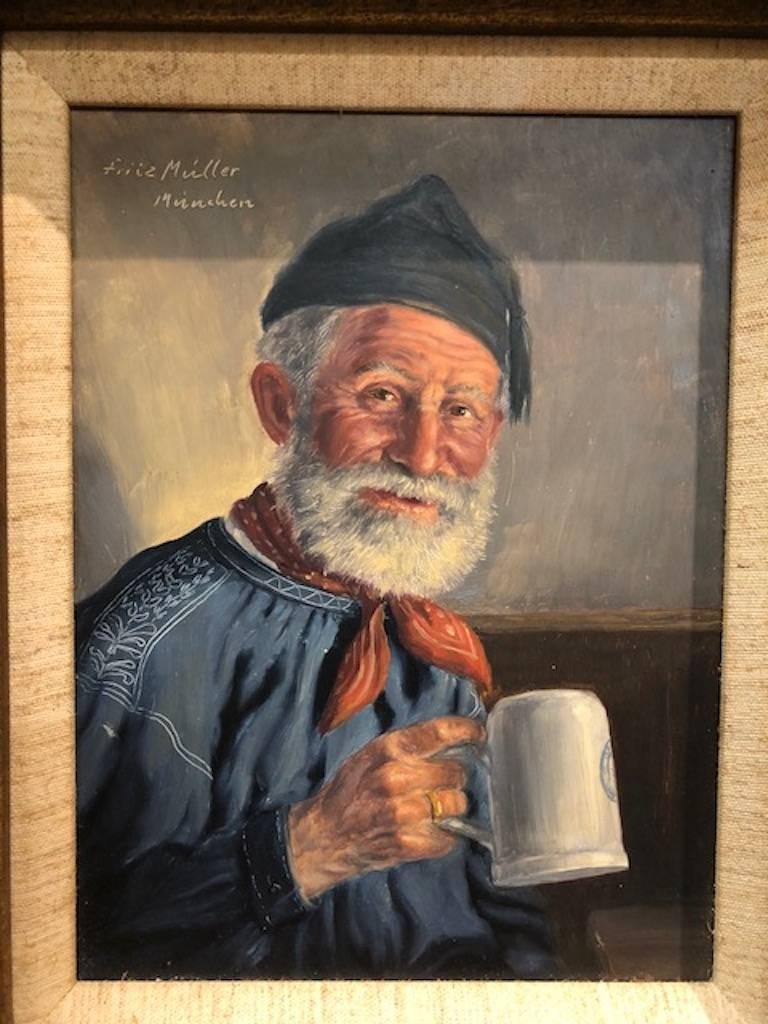 Elderly Man with a Cup - Painting by Fritz Muller