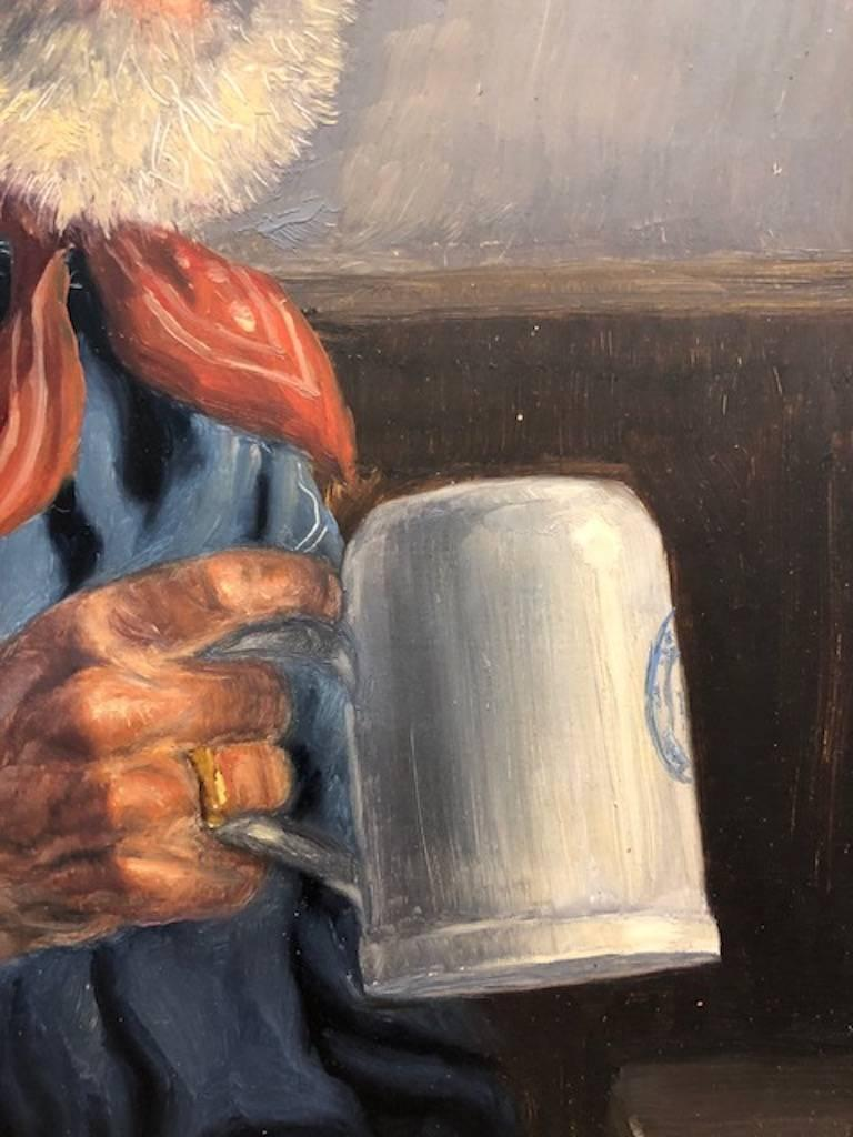 Elderly Man with a Cup - Other Art Style Painting by Fritz Muller