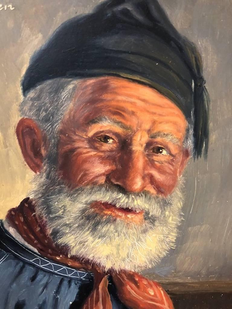 Elderly Man with a Cup - Brown Portrait Painting by Fritz Muller