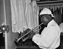 Louis Armstrong Practicing Backstage Fine Art Print
