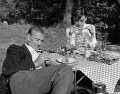 Audrey Hepburn and Gary Cooper Having a Picnic Fine Art Print