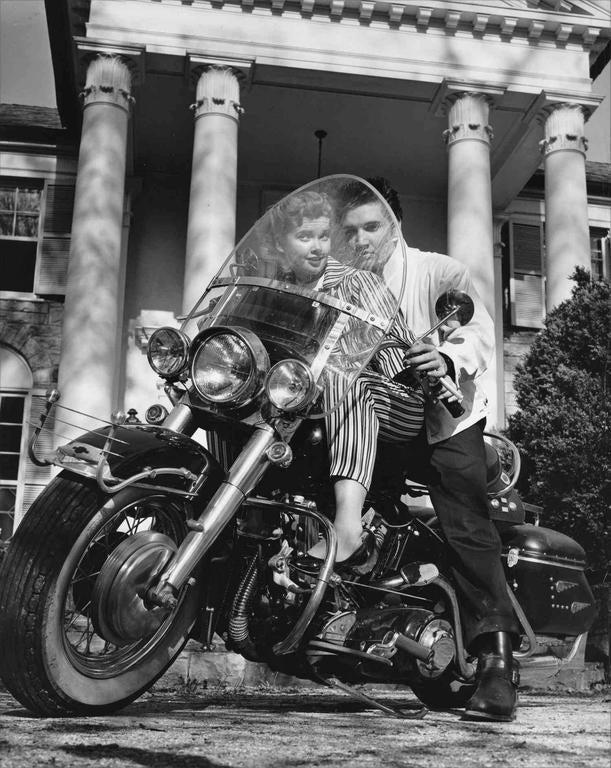 Bob Williams Elvis Presley With His Harley Davidson