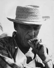 PABLO PICASSO Up-Close SMOKING a CIGARETTE