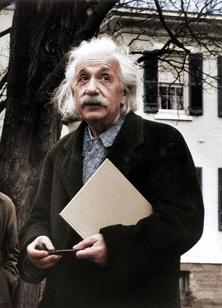 Paula Wright Color Photograph - Einstein Looking Up - Colorized Fine Art Print