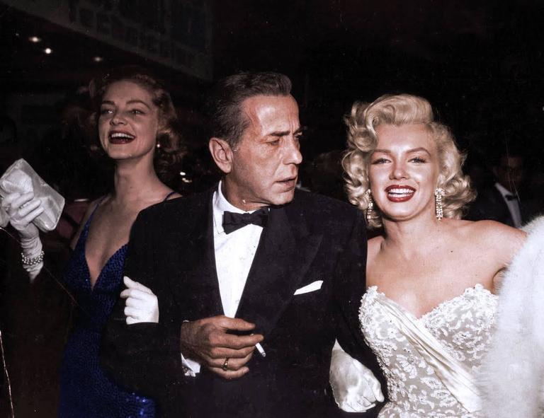 Marilyn Monroe, Humphrey Bogart and Lauren Bacall, Colorized Fine Art Print