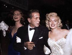 Marilyn Monroe, Humphrey Bogart and Lauren Bacall, Colorized Fine Art Print