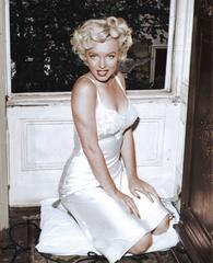 Marilyn Monroe Kneeling in Lingerie, Colorized Fine Art Print