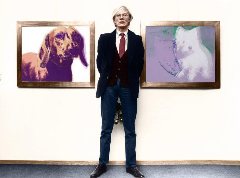 unknown andy warhol at an exhibition colorized fine art print