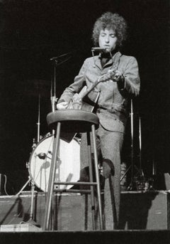 Bob Dylan Performing on Stage with His Hamonica, Vintage Original Photograph