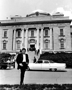 Johnny Cash in Front of Folsom Prison Fine Art Print