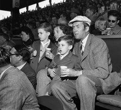 Jimmy Stewart watching Baseball