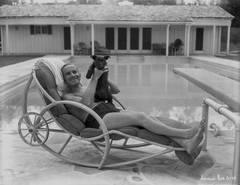 Al Jolson with Puppy Poolside