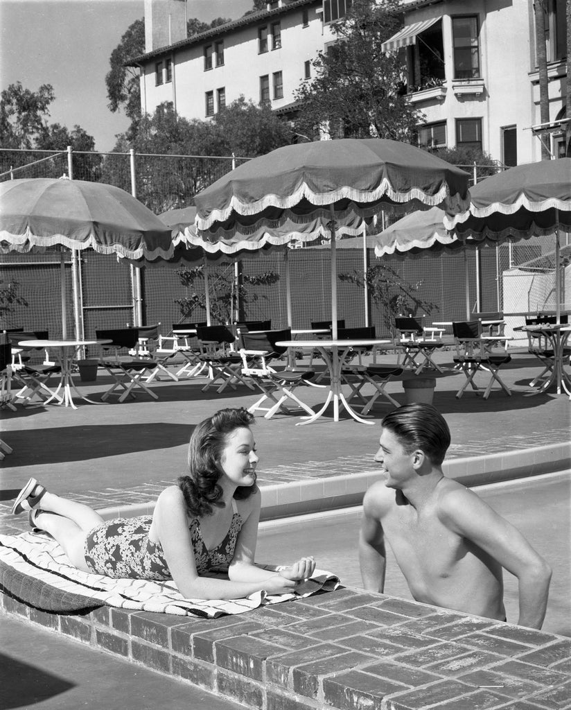 Unknown Black and White Photograph - Ronald Reagan Relaxing in the Pool Fine Art Print