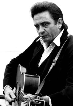 Johnny Cash with Guitar and Cigarette Fine Art Print