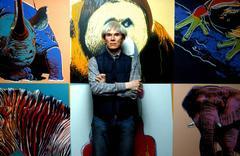 Andy Warhol in front of His Work, Pine Barren Tree Frog II. Fine Art Print