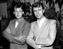 David Bowie and Paul McCartney at Live Aid Concert Fine Art Print