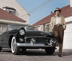 Frank Sinatra Standing Next To T-Bird - Colorized Fine Art Print