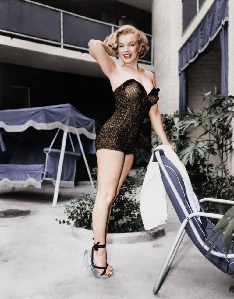 Marilyn Monroe Standing Poolside, Los Angeles - Colorized