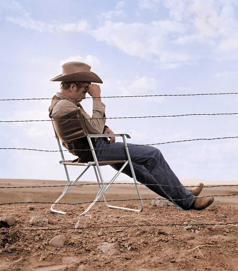 """James Dean Seated Behind Fence on the Set of """"Giant"""" - Colorized Fine Art Print"""