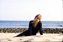 Mia Farrow Lying on Beach Fine Art Print