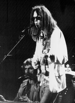 Neil Young Singing into Microphone Vintage Original Photograph